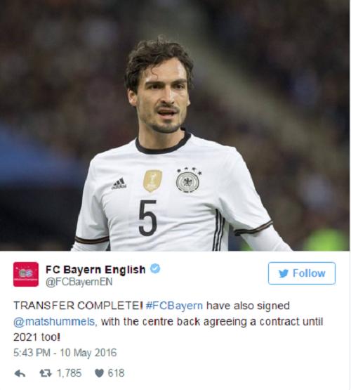 Trang twitter của câu lạc bộ Bayern Munich xác nhận thương vụ với Hummel