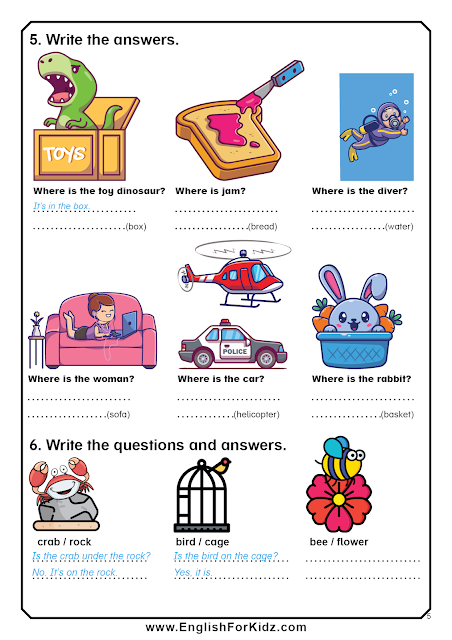 Prepositions in, on, under exercises - ESL printables