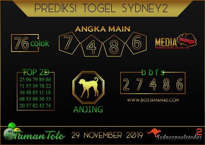 Prediksi Togel SYDNEY 2 TAMAN TOTO 29 NOVEMBER 2019