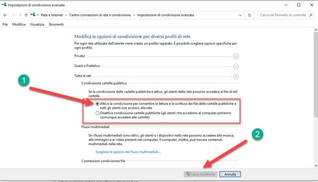 attivazione della condivisione su Windows 10