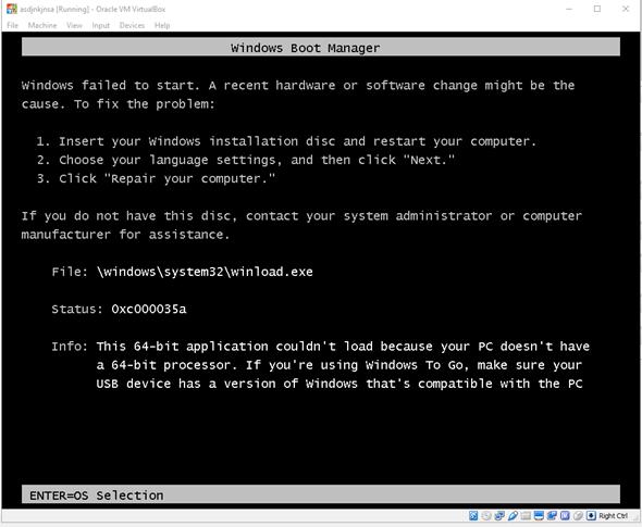 Terjadi error saat proses booting virtual mesin
