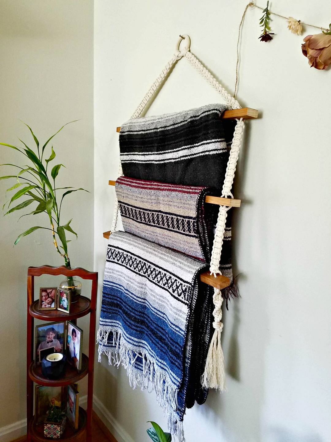 Bohemian Style Living Room With DIY Macrame Hanging Blanket Ladder - TheBohoAbode