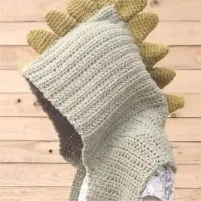 Bufanda Capucha Dinosaurio a Crochet