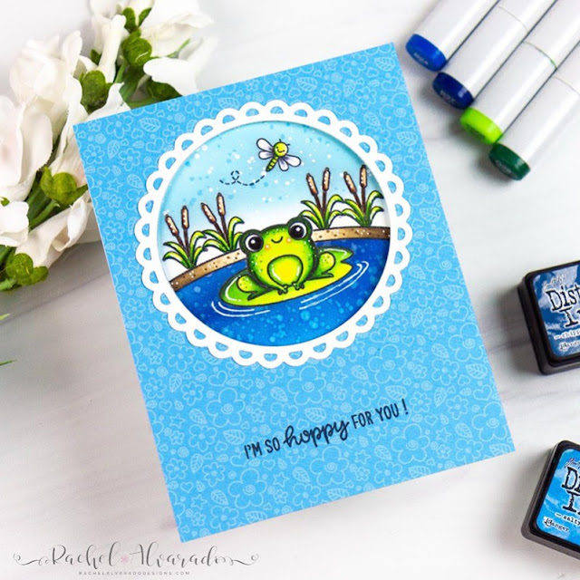 Sunny Studio Stamps: Feeling Froggy Country Scenes Scalloped Circle Mat Dies Everyday Card by Rachel Alvarado