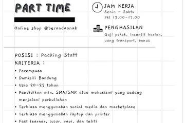 Loker Bandung Packing Staff Beranda Anak Online Shop