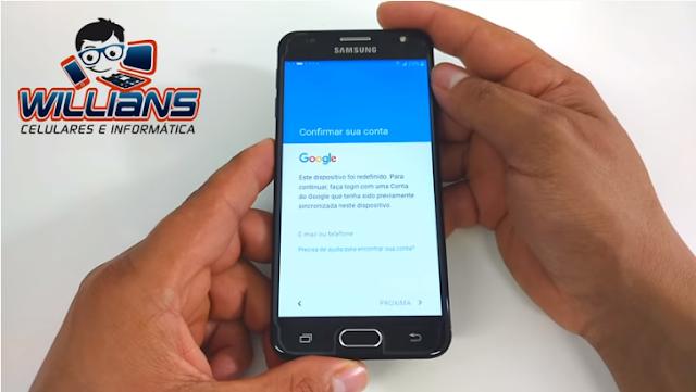 Aprenda como Desbloquear a Conta Google dos aparelhos Samsung Galaxy J5 Prime SM-G570, G570M.