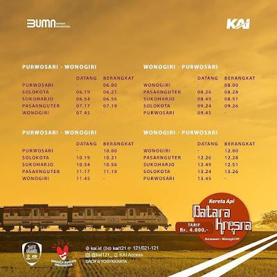 Jadwal Kereta Api Railbus Batara Kresna Solo Wonogiri 2021