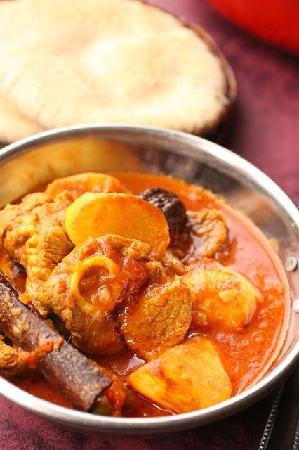 curry aux navets frits et agneau