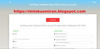 Cara Verval NISN lulusan/tingkat akhir madrasah (MI/MTS)