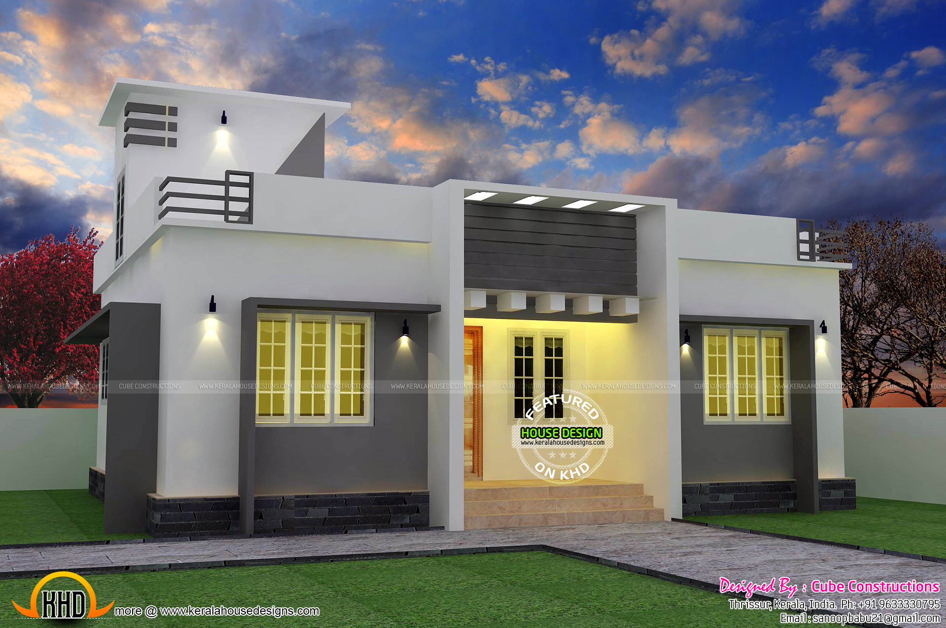 Flat Roof Single Floor Home With Stair Room Kerala Home Design | Stair Room Front Design | 3Rd Floor | Residential | 100 Sq Meter House | Hall | Small Space