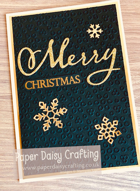 Merry Christmas to all black and gold card Stampin Up Paper Daisy