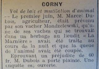 coupure de presse impartial Corny eure 1939-44