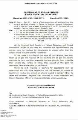 Deputations permitted to teacher less schools or schools located in category III or IV areas only