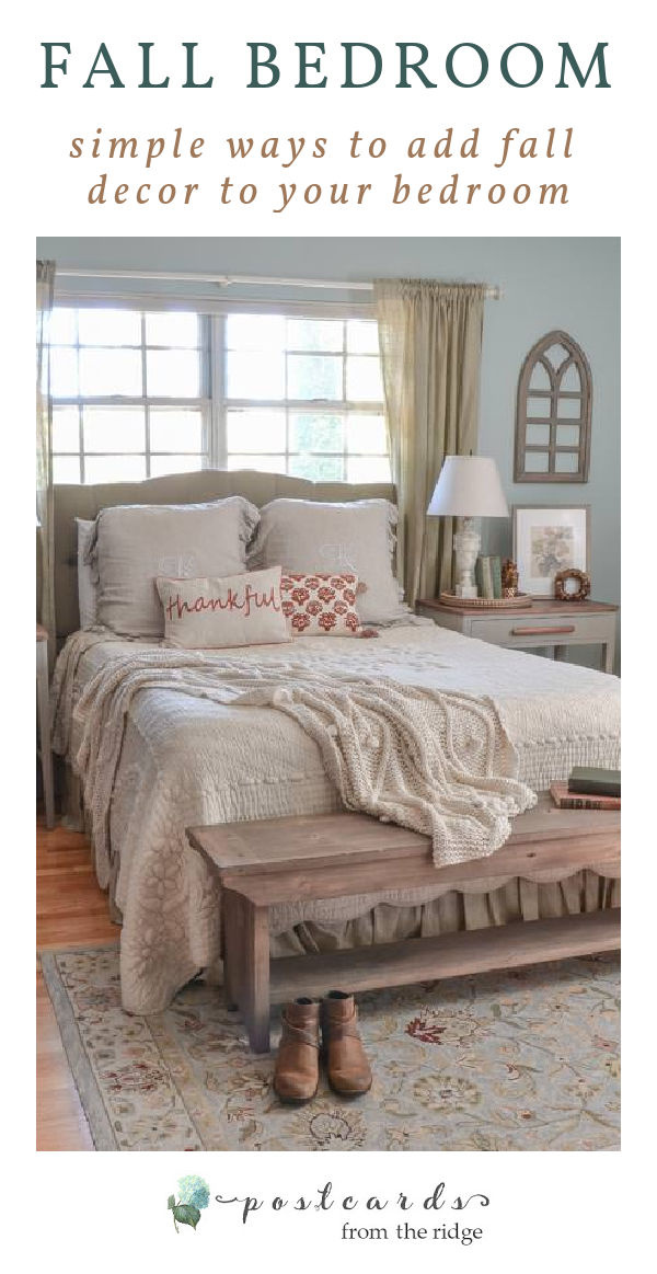 bed with French quilt, fall throw pillows, cable knit throw blanket, linen monogrammed shams