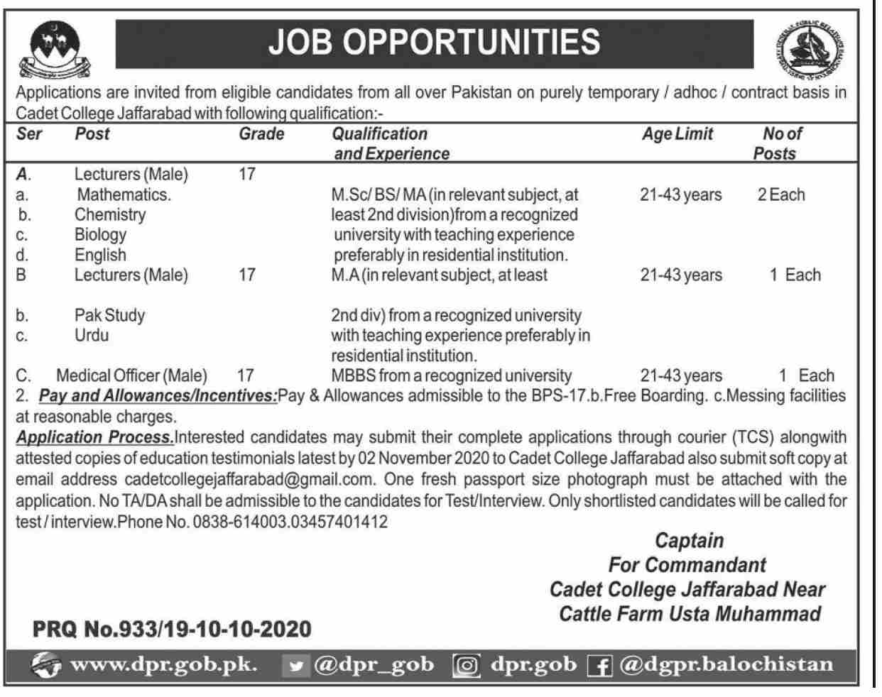 Cadet College Jaffarabad Job Advertisement For Govt Lecturer Vacancies in Pakistan Jobs 2021