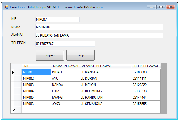 VB .NET - Cara Input Data Kedalam Database SQL Server