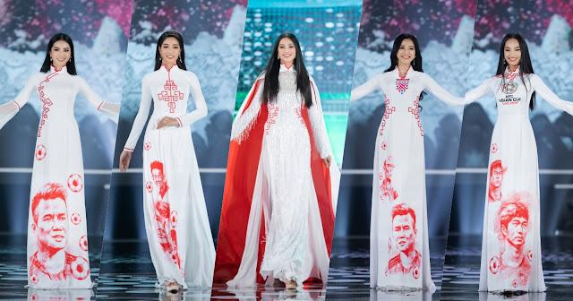Tiểu Vy làm vedette cho BST áo dài của NTK Ngô Nhật Huy tại chung kết Hoa hậu Việt Nam 2020