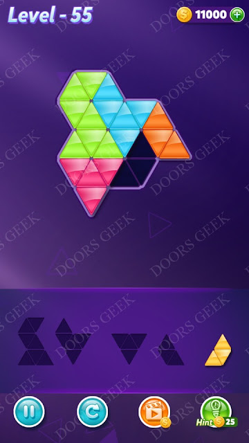 Block! Triangle Puzzle 5 Mania Level 55 Solution, Cheats, Walkthrough for Android, iPhone, iPad and iPod