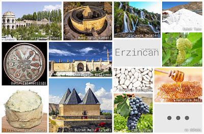 Erzincan'ın meşhur şeylerini gösteren resimlerden oluşan kolaj