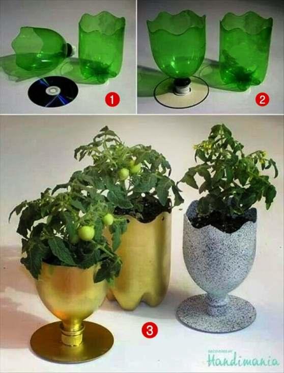 Gambar kerajinan pot dari botol bekas plastik minuman