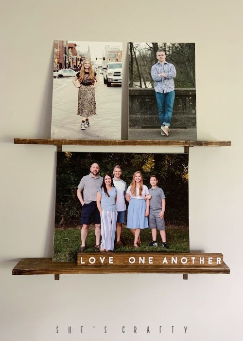 how to display family photos, simple picture ledge shelves, shelves with corner brackets