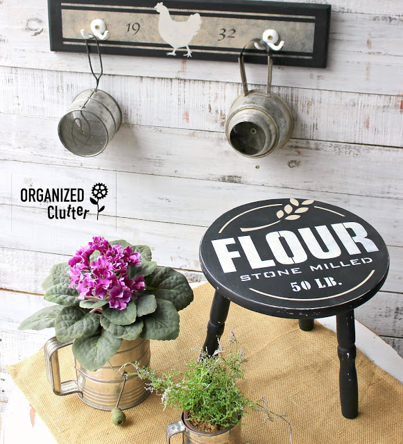 Stool Upcycle with Old Sign Stencils Flour Stencil