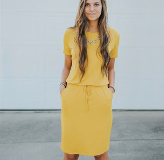 Yellow Pocket T-Shirt Dress- $24.99