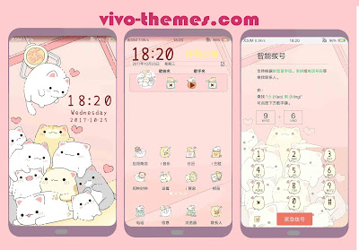 Pink Cat Cartoon Theme For Vivo Android Phones