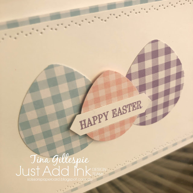 scissorspapercard, Stampin' Up!, Just Add Ink, Timeless Tulips, Subtle DSP, Balloon Bouquet Punch, Nature Thoughts Dies, Easter Card