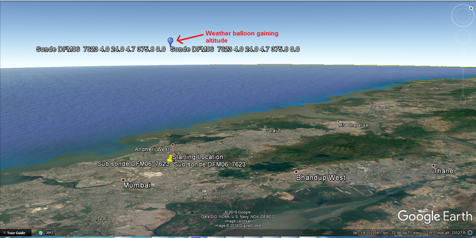 tracking radiosonde in real time using google earth
