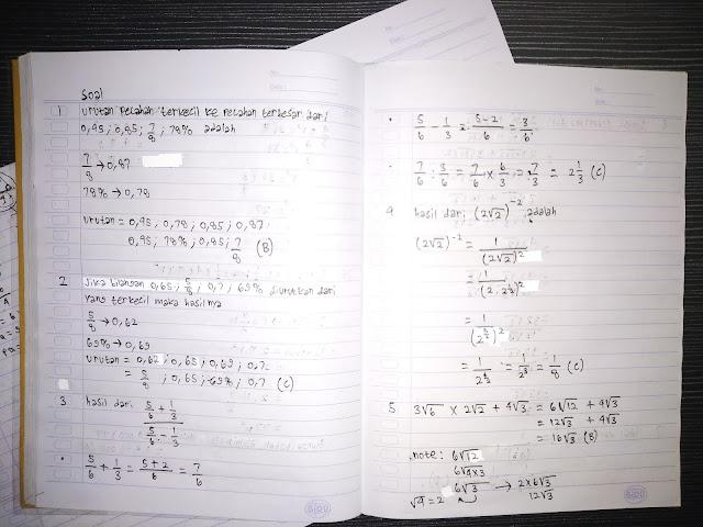 Soal Matematika kelas 9 bab pecahan dan bilangan desimal
