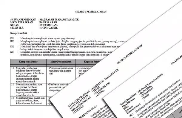 Silabus MTs Mapel PAI dan Bahasa Arab Kurikulum 2013 Kelas 7 8 9