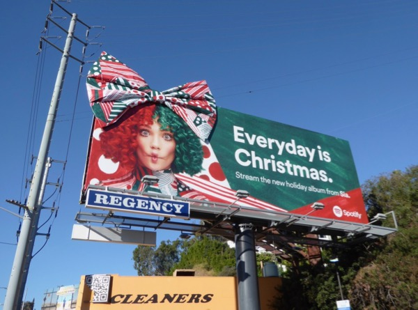 Everyday is Christmas 3D bow Sia Spotify billboard
