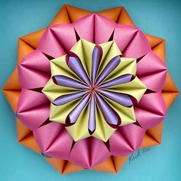 pastel mandala-style 3D paper sculpture