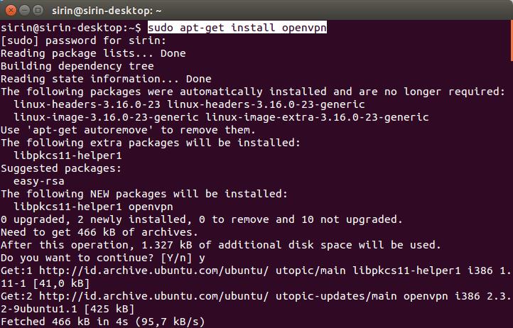 Tutorial Installasi Dan Menggunakan OpenVPN di Linux Ubuntu, Install OpenVPn, Free OpenVPN, internet gratis menggunakan OpenOPN Full Speed