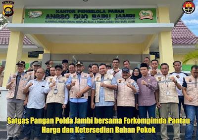 Satgas Pangan Polda Jambi Bersama Tim Satgas Pangan Provinsi Jambi Tinjau Harga Dan Stok Kebutuhan Bahan Pokok Dipasar Angso Duo Jambi