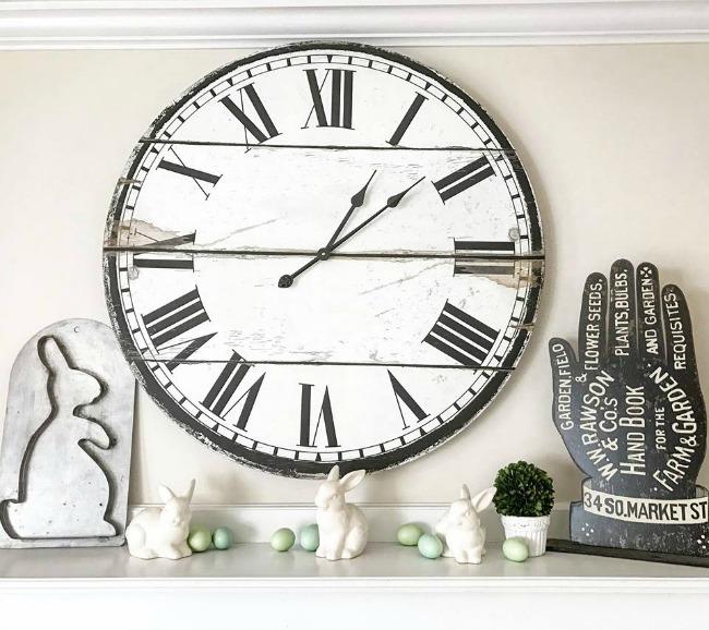 Roman numeral clock face mantel