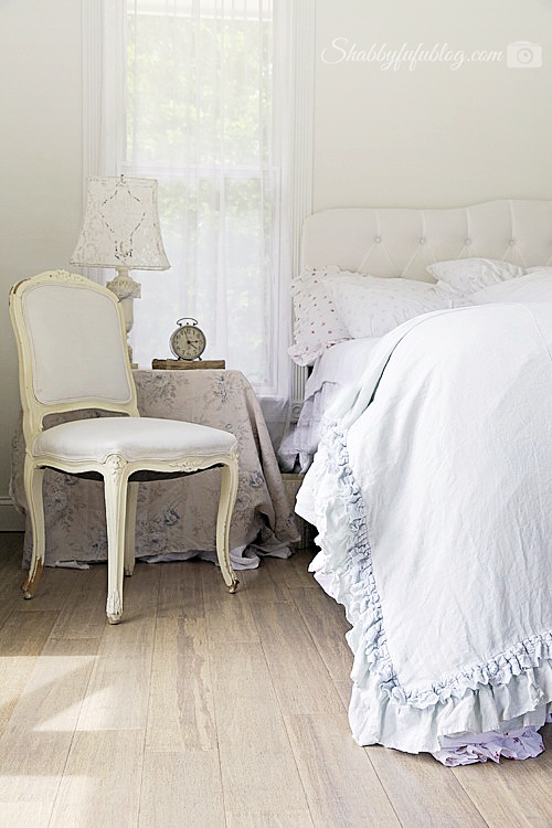 relaxing bedroom with ruffles