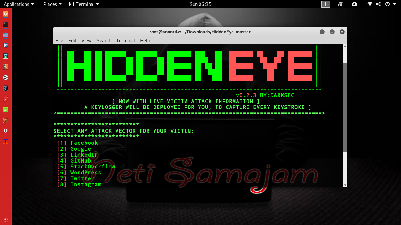 HiddenEye : Kali Linux Tutorials