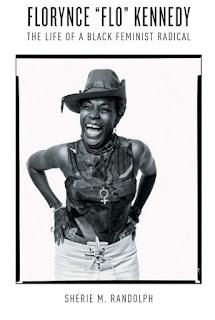 """cover art - Florynce """"Flo"""" Kennedy - shows Black woman in cowboy hat and tank top, laughing"""