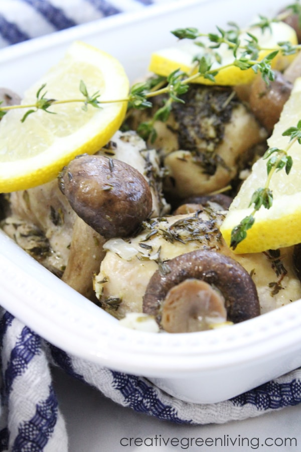 This healthy keto Instant Pot chicken thigh recipe is perfect for boneless chicken thighs. The recipe is dead easy and creates a delicious white wine lemon garlic sauce that you can serve over veggies or pasta (if you aren't whole 30 or keto). Recipe is gluten free, keto, paleo and whole 30. #creativegreenliving #creativegreenkitchen #instantpot #chickenthighrecipe #ketorecipe #whole30 #paleochickenrecipe