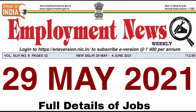 employment news of this week 29 may 2021