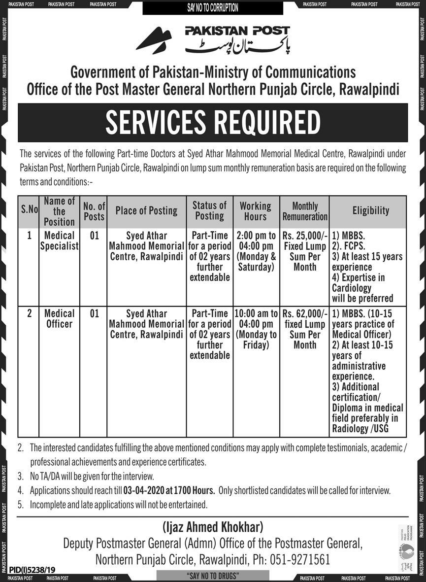 The Pakistan Post Jobs 2020 for Medical Specialist and Medical Officer
