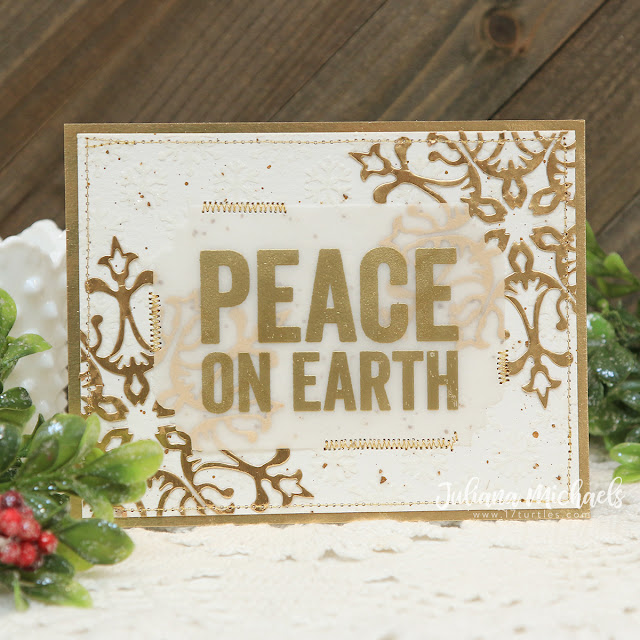 Peace On Earth Christmas Card by Juliana Michaels featuring Tim Holtz Bold Tidings Stamp Set