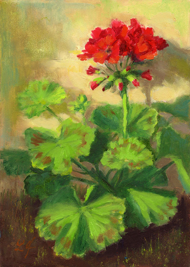 I Seem To Be Painting A Lot Of Red Geraniums Lately Think It S Because The Flowers Against Green Leaves That Bring Such Intensity