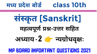 sanskrit important question 10th mp board 2020 chapter-2