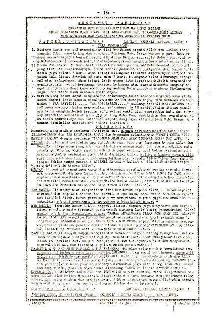 Lembaran Sholawat Wahidiyah Cetakan Tahun 1976 Latin