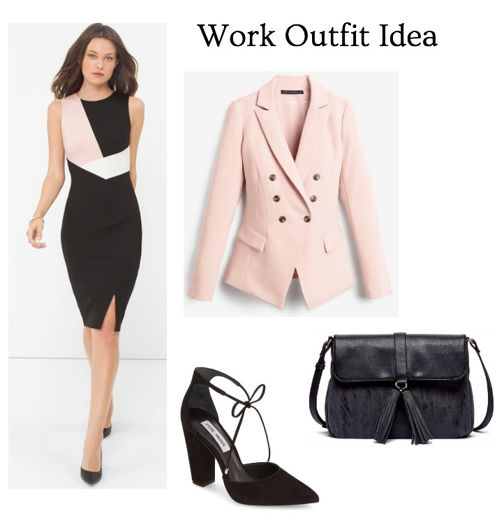 blush and black office outfit idea