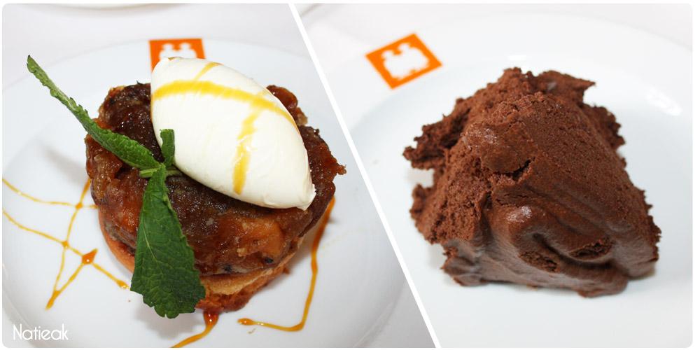 Sœur tatin fouace tiède et pommes caramélisées et mousse au chocolat