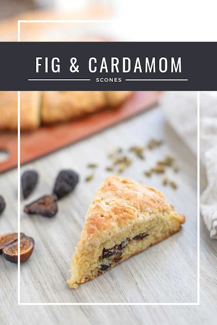 How to make a fig and cardamom scone recipe in a cast iron skillet (or other pan). This American scones recipe has buttermilk to make a soft, fluffy and moist dessert. Serve with coffee or tea for an afternoon treat or after dinner. This is the best scones recipe and is baked in the oven instead of fried. This makes a great treat for Christmas with the figs. #scones #fig #dessert #recipe